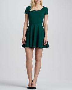 Short-Sleeve Ponte Skater Dress #amandauprichard