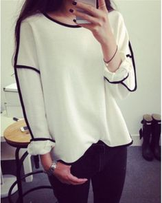 Women Simple Look Casual Loose Geometry Pullover Shirt Long Sleeve Top Shirts Blouse