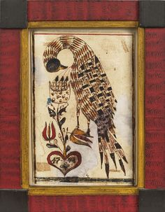 """Pennsylvania watercolor on paper fraktur of a distelfink picking her breast and feeding her young in a nest, the nest in a tulip tree arising from a red heart with the date 1794, in red, black, rust, and yellow, 6"""" x 4""""."""