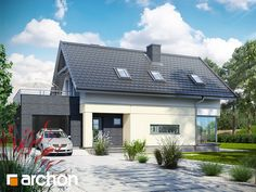Dom w cytryńcach Contener House, Modern Brick House, White Stone, Home Fashion, Exterior Design, Future House, House Plans, New Homes, Floor Plans