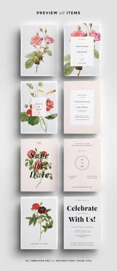 Botanical Save the Date Bundle by Paperie & Press on @creativemarket