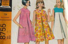 sewing pattern sleeveless shift dress | 1960s Sewing Pattern // Shift Dress // Empire Waist