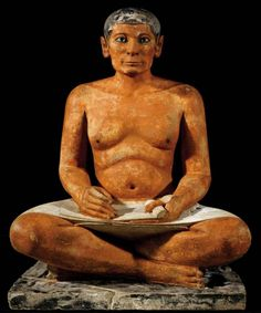 Seated Scribe (2620–2500 BC) Old Kingdom, Painted limestone sculpture originally from Saqqarah, Egypt ; Louvre Museum, Paris.