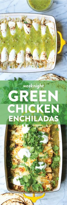 Salsa verde, green chiles, leftover rotisserie chicken and Monterey Jack cheese make for the best weeknight enchiladas ever! Mexican Food Recipes, Dinner Recipes, Mexican Entrees, Mexican Desserts, Drink Recipes, Dinner Ideas, Green Chicken Enchiladas, Cooking Recipes, Healthy Recipes