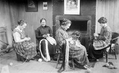 Shetland knitters, knitting, 4 ladies, females, history, vintage, fashion, beauty, crafting, craft, hands, focus, concentration, photo b/w.