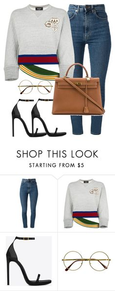 """Untitled #53"" by rihab-sen ❤ liked on Polyvore featuring Yves Saint Laurent, Dsquared2, Retrò and Hermès"