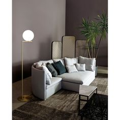 The IC light floor lamp is a design by Michael Anastassiades edited by Flos and is for sale in the Naharro furniture online store. Living Room Lighting, Living Room Decor, Decor Interior Design, Interior Decorating, Diy Zimmer, Brass Floor Lamp, Luminaire Design, Traditional Interior, Corner Sofa