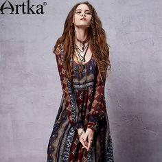 Bohemian Chiffon Dress Sleeve Style: Lantern Sleeve Material: Cotton,Poly Dresses Length: Ankle-Length - Another! Gypsy Style, Hippie Style, Bohemian Style, Moda Hippie, Moda Boho, Boho Outfits, Vintage Outfits, Fashion Outfits, Fashion Ideas