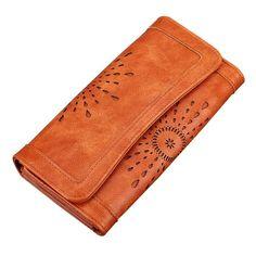 Women s Three Fold PU Leather Wallet Long Purse Hollow Clutch Handbag  (Orange) Dream 2017 adc6ae2ee349