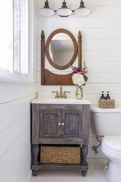 11 DIY Bathroom Vanity Plans You'll Love: Small Bathroom Vanity From Shades of Blue Interiors