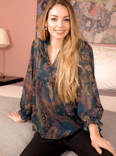 Blouse voile plumetis imprimé cachemire Blouse, Tops, Women, Fashion, Fashion Now, Teal, Winter Collection, Veil, Cashmere Wool