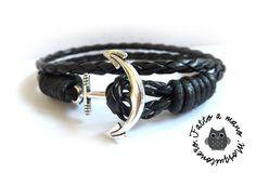 Bracciale uomo ANCORA corda nautico pelle braccialetto NERO ANCHOR SILVER, by Mosquitonero Shop, 7,90 € su misshobby.com