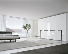 Bedroom Design, Modern Bedroom With White And Cool Contemporary Wardrobe Design With Black Accent Also Modern Bed Frame Design Also Huge Windows With White Modern Curtains Design Also Cool Grey Rug: Design and Ideas of Wardrobes for Small Bedrooms