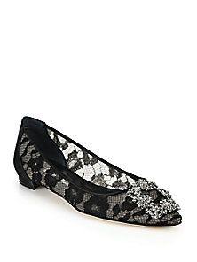Manolo Blahnik - Crystal Lace & Satin Flats (=)