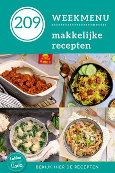 Weekmenu recepten voor het avondeten. Voor dit nieuwe weekmenu heb ik weer aantal makkelijke recepten op een rijtje gezet, die iedereen kan maken. Wat eten we deze week? Pulled chicken uit de oven, nasi met tempeh, een viscurry en zalige pasta. Geniet ervan. Fried Rice, Fries, Tacos, Beef, Tempeh, Ethnic Recipes, Pasta, Food, Meat