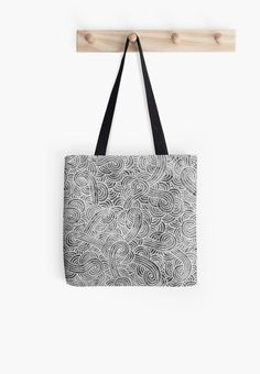 """Grey and white zentangles"" Tote Bag by Savousepate on Redbubble #totebag #bag #pattern #zentangles #scrolls #doodles #black #grey #gray #white #blackandwhite"