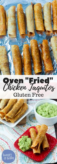"""Oven """"Fried"""" Chicken Taquitos are a healthy twist on your favorite Mexican Food appetizer, save tons of calories by baking instead of frying! via @hungryhobby"""