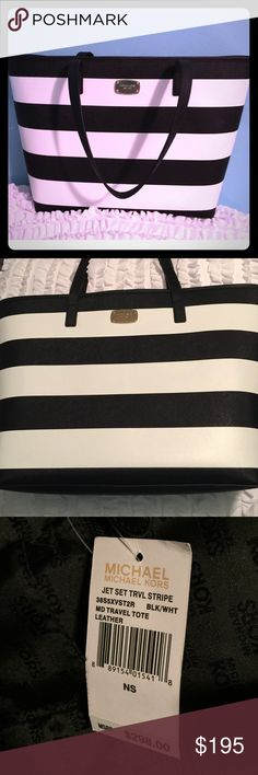 NWT HOST PICKMichael Korsfinal price! HOST PICK 100% Guaranteed Authentic!! BRAND NEW w/tags.....SPOTLESS! Popular JET-SET Michael Kors Tote. Classic Black & White stripes with black straps. Gold hardware. Snap enclosure with Interior zip pocket. Tags intact  Can accommodate a up to a 15.5 inch LAPTOP  Please don't hesitate to ask questions  Original $298  Sorry No TRADE.  Please contact me with any questions!⭐️⭐️⭐️⭐️⭐️ 5 star seller!!!! Michael Kors Bags Totes