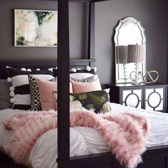 Pink faux, mixed prints and chic mirrored accents, glam up your bedroom decor care of @haneens_haven | Get ready-to-shop #LTKhome product details with the LIKEtoKNOW.it app | http://liketk.it/2qLiL #liketkit