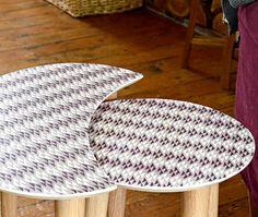 Wallpaper coverd side tables