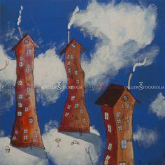 Per Nylén - Oljemålningar Stockholm - Hus på moln 21