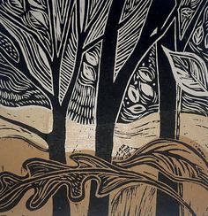 Patricia Latham Artist: 'Autumn' - lino cut