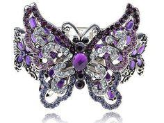 Purple Amethyst Clear Crystal Rhinestone Butterfly Insect Bracelet Bangle Cuff: Women's Fashion Jewelry