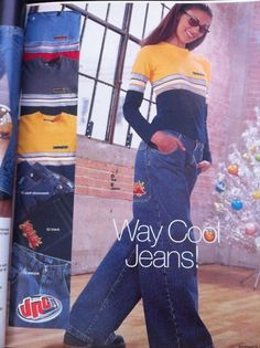 JNCO Jeans! I had a pair with a red and white candy stripe up the sides :)