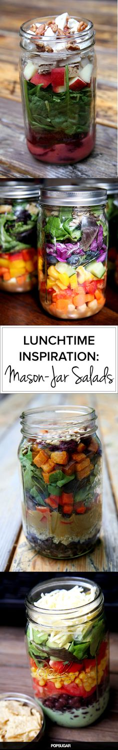 20 Salads in a Jar That Make Brown-Bagging at Work Fun Healthy Salads, Healthy Eating, Healthy Recipes, Cooking Recipes, Healthy Exercise, Mason Jar Lunch, Mason Jar Meals, Mason Jars, Salad In A Jar