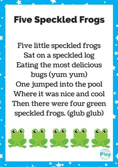 Five Speckled Frogs Printable And Activity Ideas