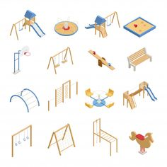 Children Playground Isometric Icons Stock Vector - Illustration of frame, concept: 99531638 - Children Playground Isometric Icons vector illustration - playground natural playgrounds ideas for kids playground playground ideas concept criativo Playground Set, Playground Design, Children Playground, Architecture Collage, Architecture Drawings, People Illustration, Illustration Children, Whale Illustration, Swing And Slide