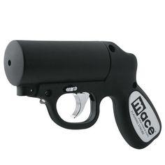 Mace Pepper Gun Distance Defense Spray with STROBE LED, Matte Black
