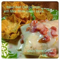 Baked Beef Chimichangas with Mexi White cheese sauce ********** Chimichangas Ingredients 8oz pkg. cream cheese 8oz. Pepperjack cheese, shredded 1 1/2 Tbsp. taco seasoning 2 lb ground beef, fried up 20 mini flour tortillas shells cooking spray shredded cheddar cheese Garnish options: sour cream salsa Directions Mix in bowl cream cheese, pepperjack cheese, and taco seasoning. Add drained ground beef and thoroughly mix together. Spray pan with cooking spray. Divide among tortillas. Tuck in ...