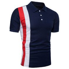 Mens Stylish Hit Color Short Sleeve Slim Fit Spring Summer Business Casual Polo Shirt Sales on NewChic Slim Fit Polo Shirts, Polo T Shirts, Casual T Shirts, Golf Shirts, Business Casual Polo, T Shirt Fundraiser, Striped Polo Shirt, Color Shorts, Manga