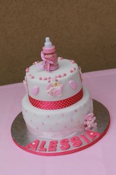 baptismcake fondant cute girly