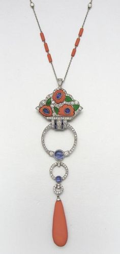 PLATINUM, CORAL, DIAMOND, SAPPHIRE AND JADE SAUTOIR 143 diamonds approx 5.00 cts. Art Deco or Art Deco style.