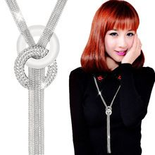 New Long Necklaces Trendy Zinc Alloy Statement Rhinestone Gold Tassel Necklaces For Women Jewelry Gift(China (Mainland))