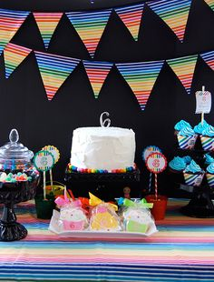 Rainbow Party with great printable ideas and inclusion of black - good use of color (or lack thereof)