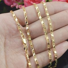 Gold Chains For Men Men Women Exquisite Chain Necklace Yellow Gold Filled Jewelry Inches - Mens Chain Necklace, Necklace Sizes, Gold Filled Jewelry, Gold Filled Chain, Gold Jewelry, Star Jewelry, Fine Jewelry, Gold Chain Design, Diy Collier