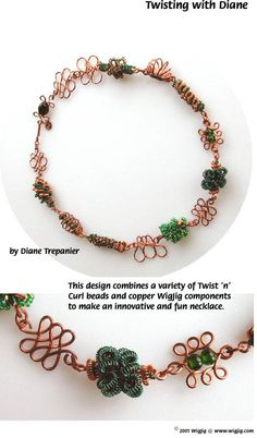 Twisting with Diane Wire Beads Necklace Jewelry Making Project made with WigJig jewelry tools and jewelry supplies.