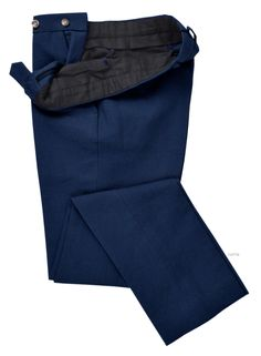 When you want a product that's weather-resistant, outdoor-ready, and tough as all hell, you want canvas. It is an extremely durable plain-woven fabric. Here is a Linen Cotton Canvas: Indigo Blue dress pant of Luxire: http://custom.luxire.com/products/gov-indigo-blue-canvas-54002_108  Consists of standard extended closure, front slant pocket and 2 rear pockets.