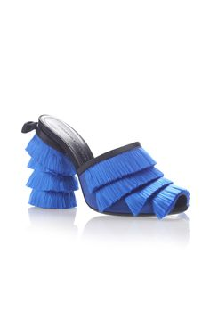 Satin Fringes Sabot by MARCO DE VINCENZO Now Available on Moda Operandi