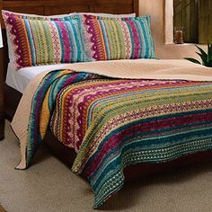 Greenland Home Fashions Southwest 3 Piece King Quilt Set NWT for sale online Striped Bedding, Striped Quilt, Tribal Bedding, King Quilt Sets, Queen Quilt, King B, King Queen, Southwest Quilts, Southwest Style