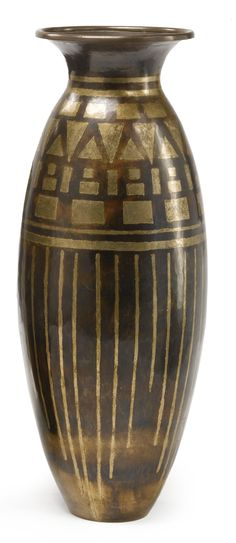 Jean Dunand VASE,  impressed JEAN DUNAND /4/4339 patinated brass and silver gilt, circa 1925. Jean Dunand (1877–1942) was a French lacquer, sculptor, dinandier (copper manufacturer) and interior designer. He is considered the greatest lacquer artist of the Art Deco period.