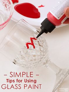 Simple Tips for Using Glass Paint Madigan made… advice for painting on glass and ceramic. Helpful tips and advice about using glass paint o. Wine Glass Crafts, Wine Bottle Crafts, Bottle Art, Bottles And Jars, Glass Bottles, Painted Wine Glasses, Craft Gifts, Diy Projects, Diy Crafts