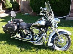 Learn more about this used silver and black 2003 Harley-Davidson® FLSTC/I-ANV Heritage Softail® Classic Anniversary motorcycle for sale on ChopperExchange. It has miles and it's located in Westminster, Colorado. Harley Davidson Touring, Harley Davidson Motorcycles, Harley Bikes, Motorcycle Camping, Camping Gear, Motorcycle Garage, Custom Baggers, Custom Harleys, Road King Classic