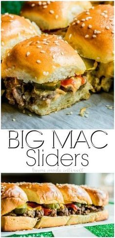 Copycat Big Mac Sliders are an easy appetizer recipe filled with beef, cheese, and McDonald's Big Mac sauce! These Copycat Big Mac Sliders are the perfect football party food idea for your next game day party! Whip up our copycat McDonald's secret sauce t Easy Appetizer Recipes, Appetizers For Party, Dinner Recipes, Appetizer Dessert, Sandwich Appetizers, Party Entrees, Beef Appetizers, Game Day Recipes, Camping Appetizers