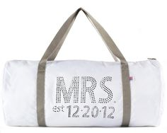Hey, I found this really awesome Etsy listing at http://www.etsy.com/listing/106852164/personalized-mrs-wedding-date-duffle
