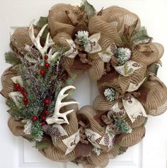 Deer Antlers Winter Holiday Wreath With Iced Greenery Handmade Deco Mesh