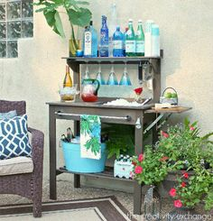 How to make an outdoor bar out of a potting bench